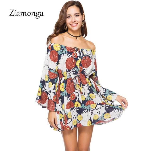 bcd9dd4cf6c08f Ziamonga Lace Up Floral Print Short Dress Women Long Sleeve Off Shoulder  Loose Dress 2018 Spring