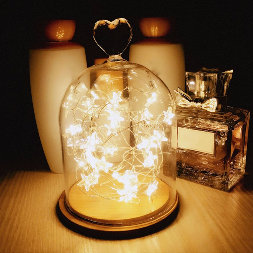 2M 20 LED Copper Wire Star Garland Lamp LED String Lights Christmas Wedding Home Party Decoration Powered By CR2032 Battery