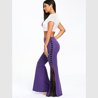 CharMma 2018 Spring Mid Waisted Lace Panel Flare Pants Women Fashion Autumn Wide Leg Pants Female
