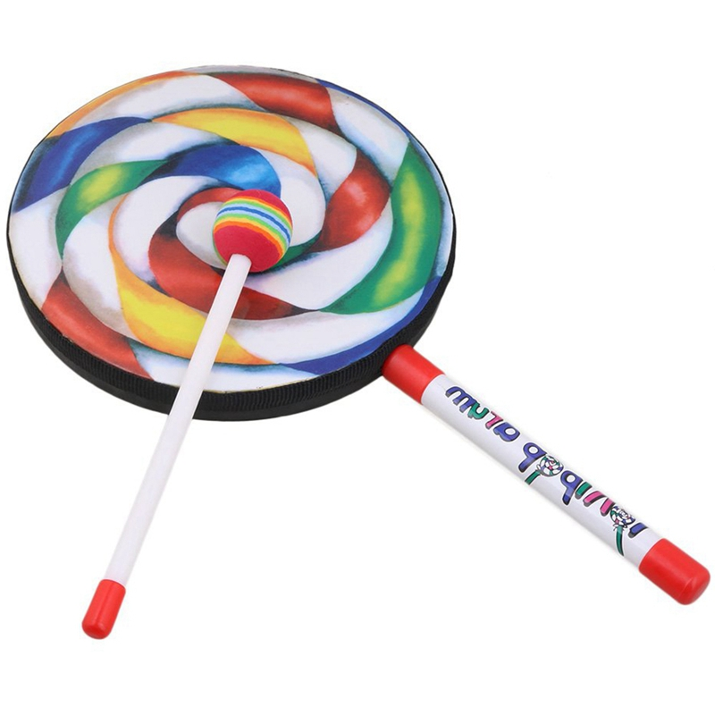 7.9 inch Lollipop Shape Drum With Rainbow Color Mallet Music Rhythm Instruments Kids Baby Children Playing Toy Pack Of 10
