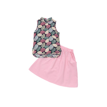 hot deal buy 2018 summer children's clothes girls sets print sleeveless slim cotton kids girl sets for girls suits vest and skirt 2 pieces