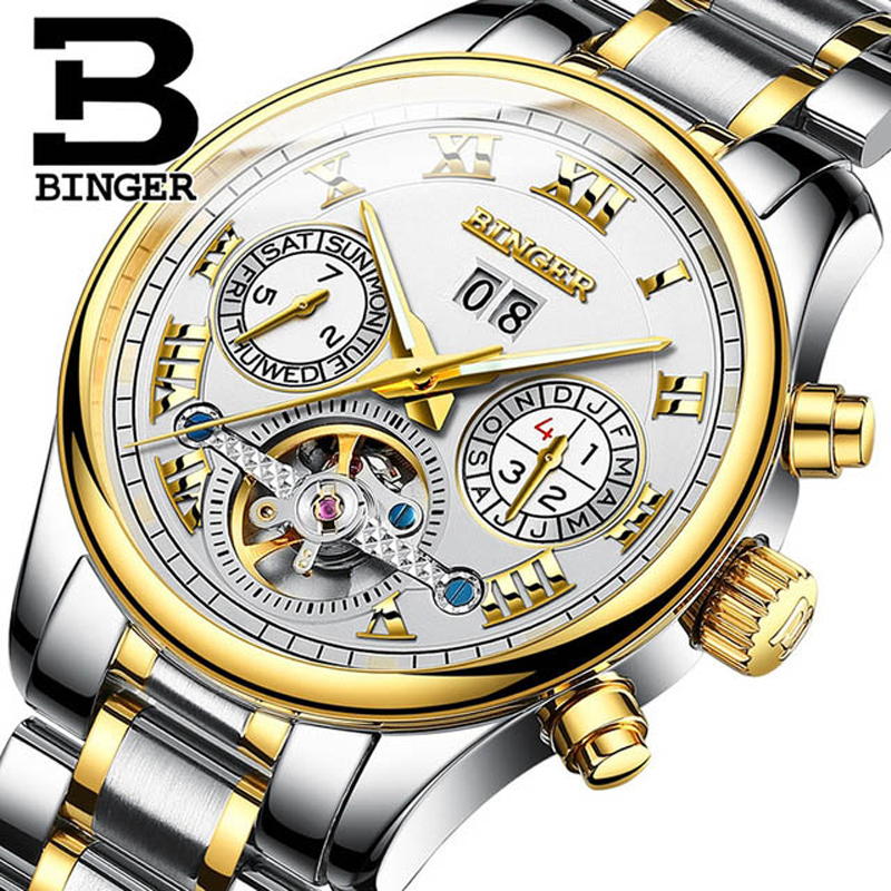 Switzerland BINGER Roman Dial Tourbillon Watch Men Luxury Brand Automatic Mechanical Men Watches Sapphire relogio Waterproof Switzerland BINGER Roman Dial Tourbillon Watch Men Luxury Brand Automatic Mechanical Men Watches Sapphire relogio Waterproof