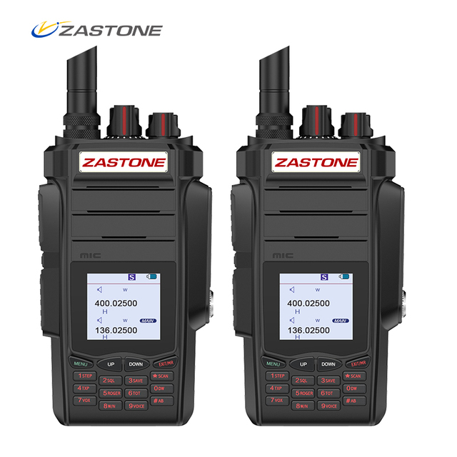 2PCS Professional Two way Radio Portable Walkie Talkie UHF VHF 10W Radio 2800mAh 999CH Ham Radio Communicator telsiz ZASTONE A19