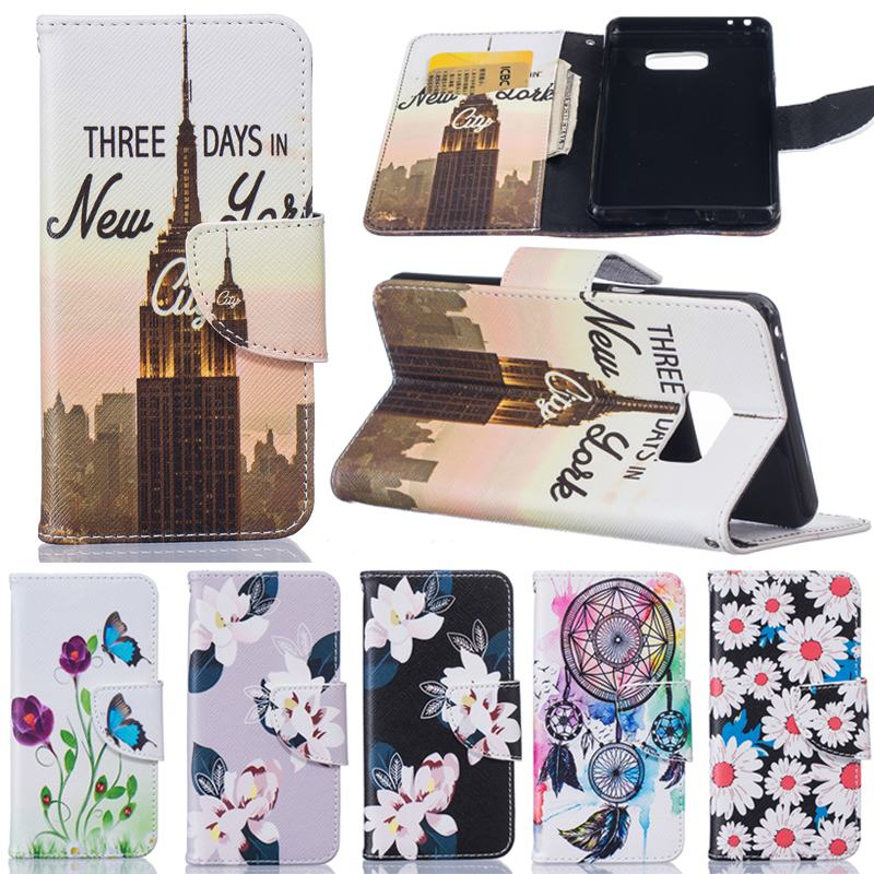 For Coque Samsung Galaxy Note 7 Case Flip Leather Wallet Silicone Cover Samsung Galaxy Note 7 Phone Case Flowers Card Holder