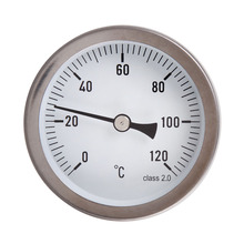 63mm 0-120 Degree Horizontal Dial Thermometer Aluminum Temperature Gauge Weather Sation Tester
