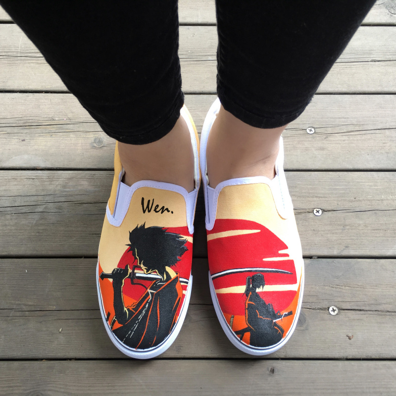 Wen Design Hand Painted Shoes Custom Anime Samurai Champloo Slip On Canvas Sneakers for Men Women's Special Gifts wen mexican style skulls totem original design hand painted shoes for men woman slip ons custom canvas sneakers