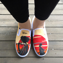 Wen Design Hand Painted Shoes Custom Anime Samurai Champloo Slip On Canvas Sneakers for Men Women's Special Gifts