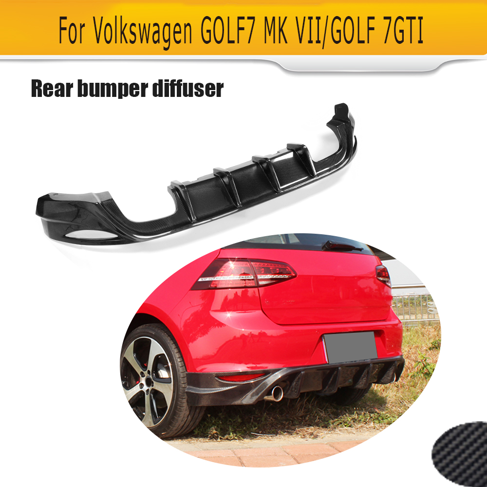 цена на Carbon Fiber Car Rear bumper diffuser lip spoiler For Volkswagen VW Golf 7 VII standard And GTI 14-16 Black FRP Four Outlet