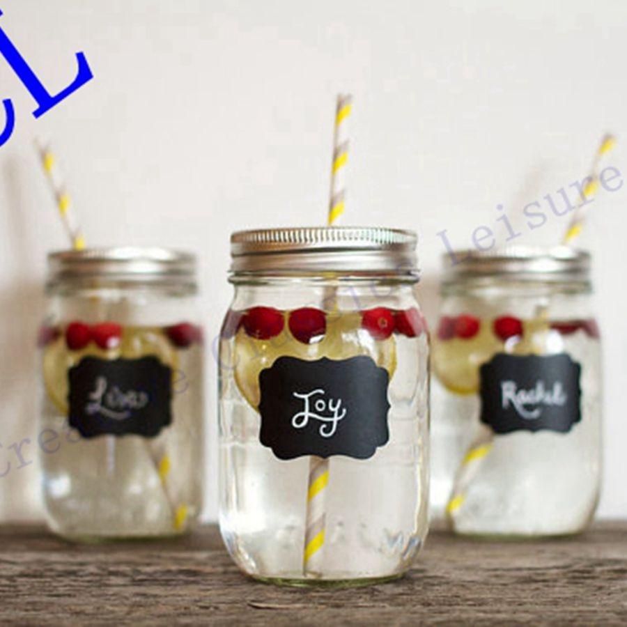 free shipping 36pieces fancy mason jar wedding chalkboard labels wine glass drink cup label diy reception decoration idea