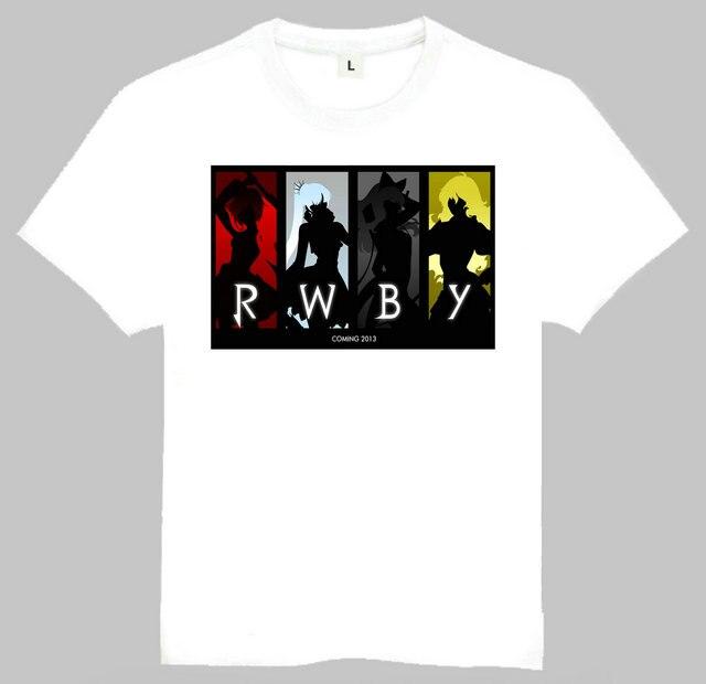 Free Shipping Anime RWBY Print T Shirt Tops Tees Men Women Anime White Shirt RWBY Logo