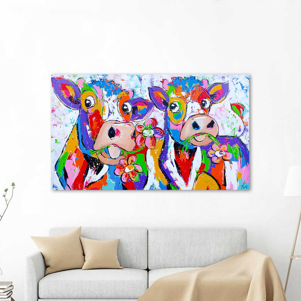 HDARTISAN Vrolijk Schilderij Wall Art Canvas Painting Animal Cow and Flowers Picture Prints Home Decor No Frame
