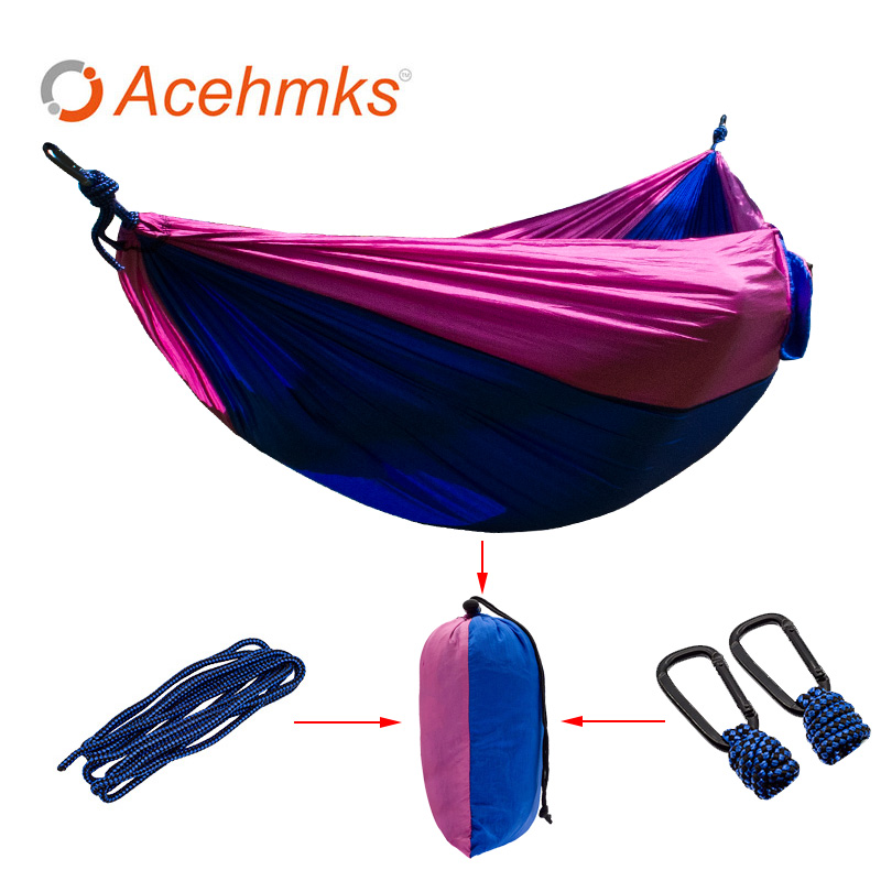 Acehmks 2 People Hiking Camping Hammock Tent Leisure Travel Garden Portable Outdoor Hanging Swing Bed Nylon Parachute Fabric hammock hanging tent portable nylon hammock