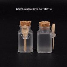 35 шт./лот, оптовая продажа, 100 мл, женский косметический контейнер 10/3 унции, квадратная соль для ванны, флакон 100 г, маска для лица, крем баночка многоразового использования