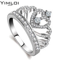 100 925 Sterling Silver Color My Princess Queen Crown Engagement Ring For Women With Clear CZ