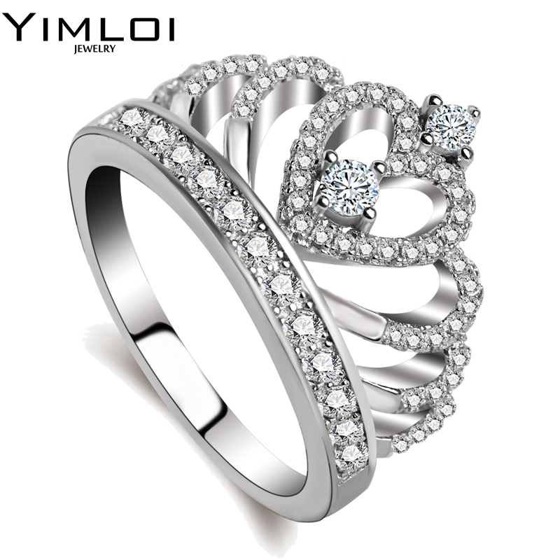 08aa34133 100% 925 Sterling Silver Color My Princess Queen Crown Engagement Ring For  Women With Clear CZ Sterling Silver Jewelry RA017