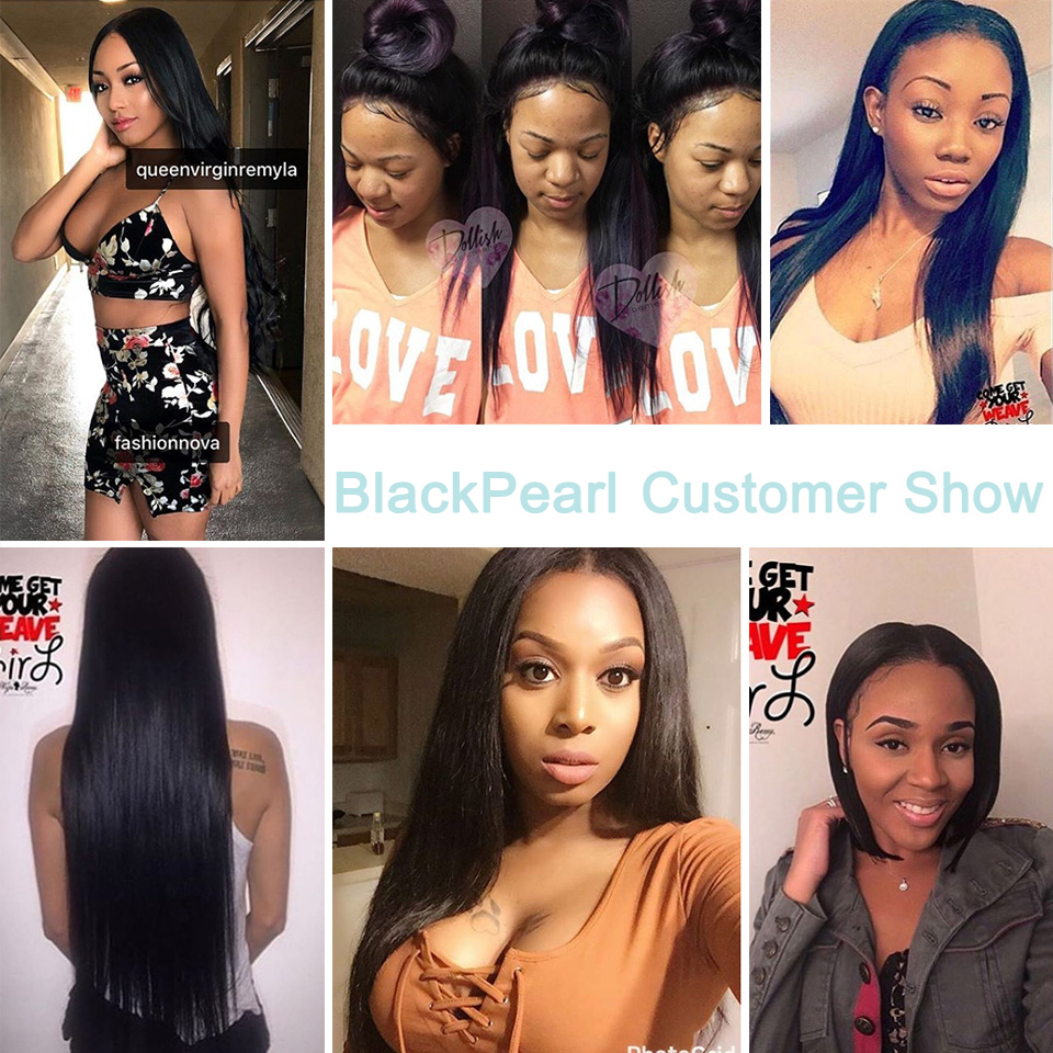 Black Pearl Straight Hair Bundles With Closure Non Remy Human Hair 3 Bundles With Closure Peruvian Hair Bundles With Closure