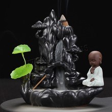 Creative Home Decor Little Monk Censer Smoke Waterfall Incense Holder Backflow Incense Burner Use In Home Office Teahouse creative fly dragon incense burner bunker smoke waterfall incense burner incense cone sticks holder use in home office teahouse