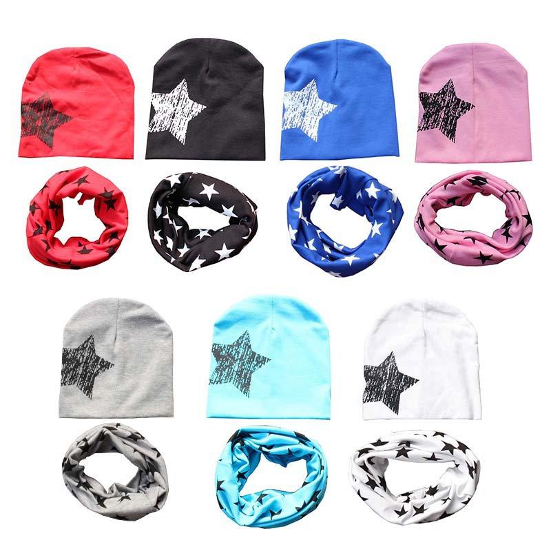 Для новорожденных Модные шапки и шарфа для Дети для девочек и мальчиков с принтом со звездой зима теплая Мягкий хлопок шляпа Кепки + шарф для...