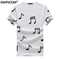 95 Cotton 5 Spandex Man T Shirt Short Sleeves Musice Note Summer Black White Grey Round
