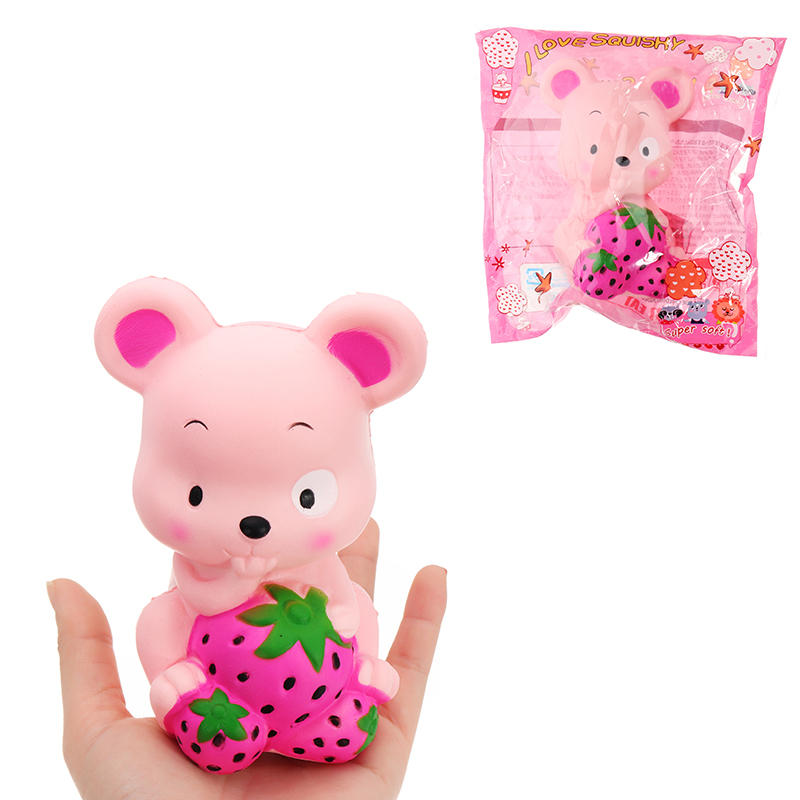 Squishy Cartoon Strawberry Rat Hamster Mouse Slow Rising Soft Squeeze Jumbo Cute Phone Strap Scented Cake Bread Kid Fun Toy Gift