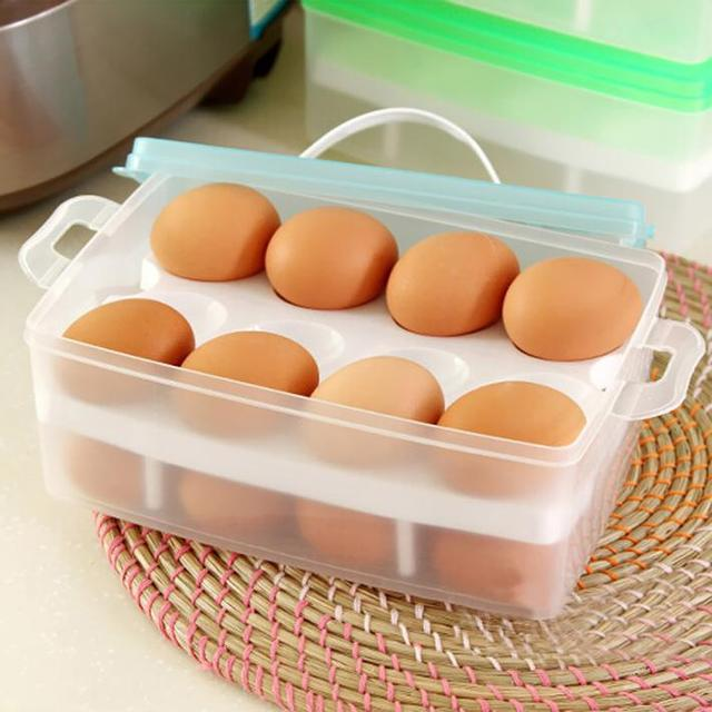 Portable Egg Container Plastic Food Chicken Egg Holder Two Layer Box