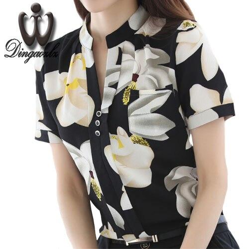 Dingaozlz summer tops para mujeres ol camisa de manga corta mujer gasa clothing