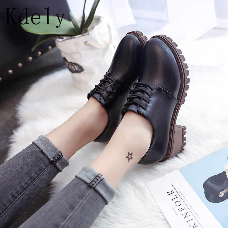 Women Ankle Martin Boots 2019 Autumn Female  Shoes Woman British Boots Fashion Platform Round Toe lace up Comfortable