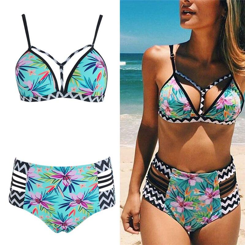 New Biki Nis High Waist SwimsuitWomen Push Up Swi Mwear Women Sexy Print Brazilian BikiniSet BathingSuits