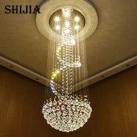Envío gratis modern luxury diseño espiral araña de cristal brillo llevó luces de iluminación grande escalera Dia80 * H260cm Garantía 100%
