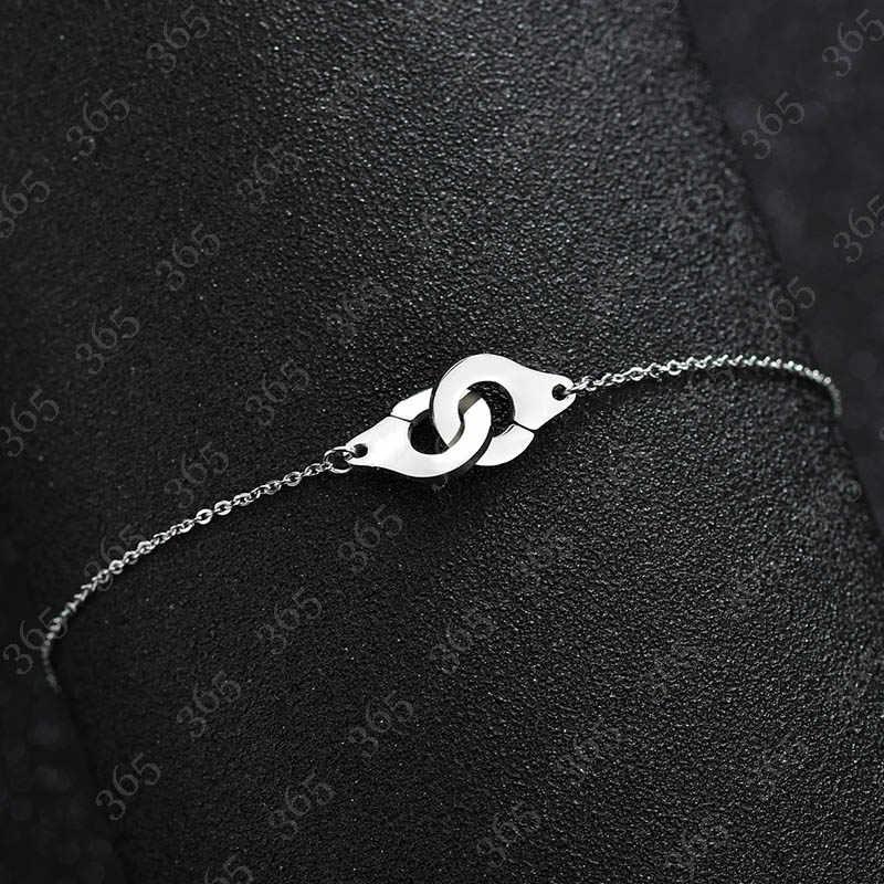 ファッション初期ステンレス鋼手錠ブレスレットシルバー色カップルロック女性ガールズバレンタインデーのギフト