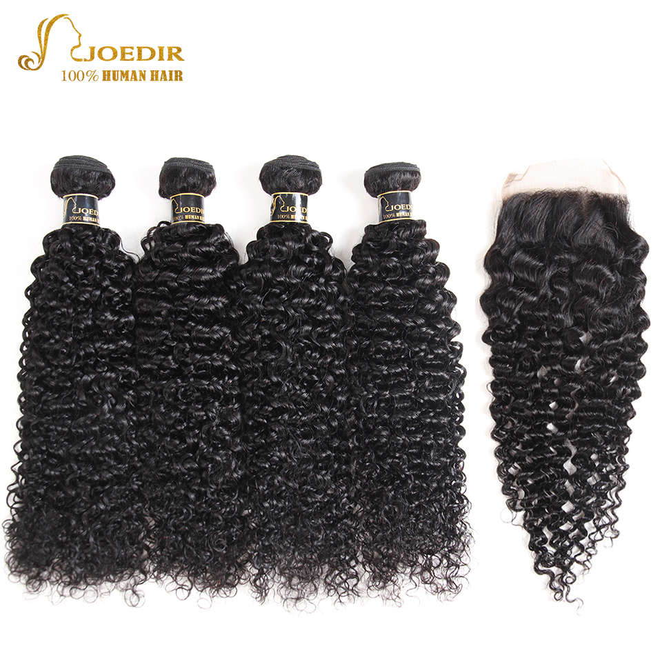 Joedir Pre colored Peruvian Afro Kinky Curly Hair With Closure 4 Bundles With Closure Peruvian Hair Bundles With Closure