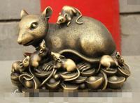 S01655 10 Classic China Pure Bronze Zodiac Wealth 5 Mouse Ride YuanBao Coin Art Statue B0403