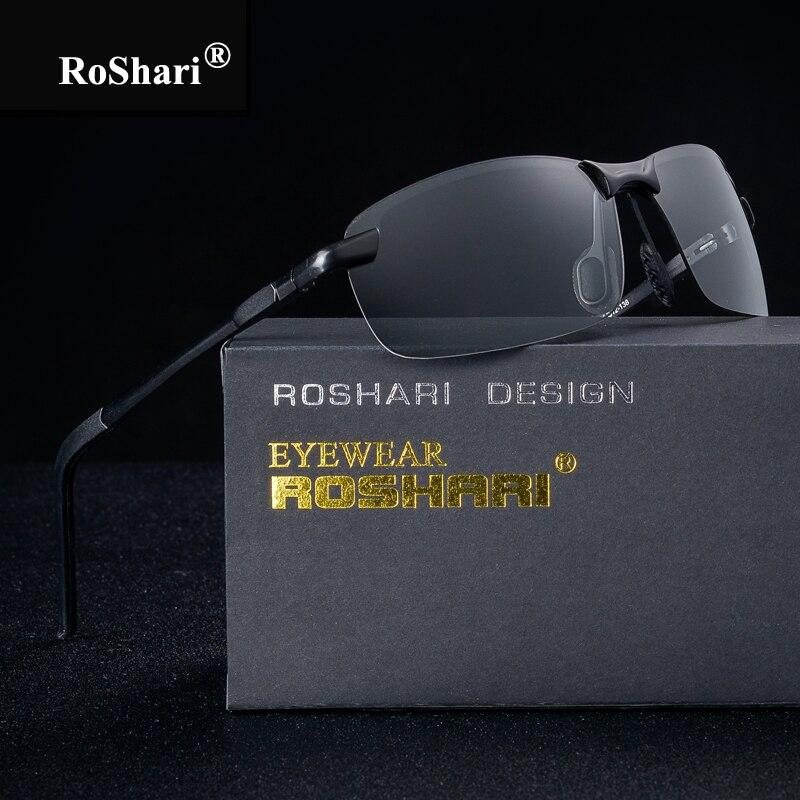 RoShari Discolored sunglasses men polarized top quality Photochromic Professional driving Sun Glasses men gafas de sol hombre