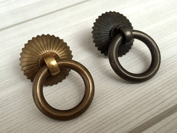 Awesome Small Drop Ring Pulls Dresser Pull Knobs Copper Drawer Knob Rings Antique  Brass Black Kitchen Cabinet Pulls Vintage Style In Cabinet Pulls From Home  ...