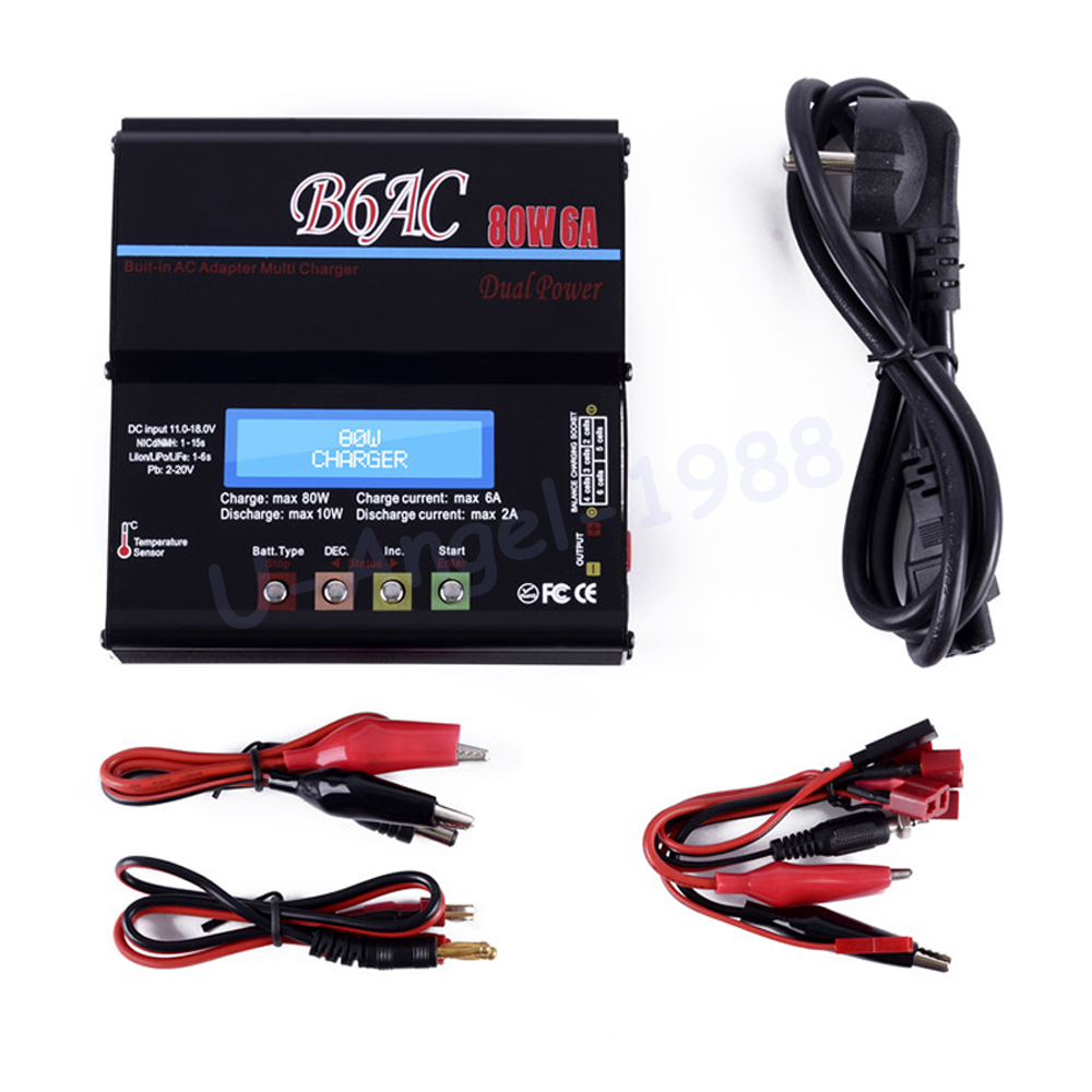 IMAX B6AC Charger 80W 6A Lipo Battery Balance RC Discharger Helicopter Quadcopter With Power Adapter for imaxrc imax b3 pro compact 2s 3s lipo balance battery charger for rc helicopter