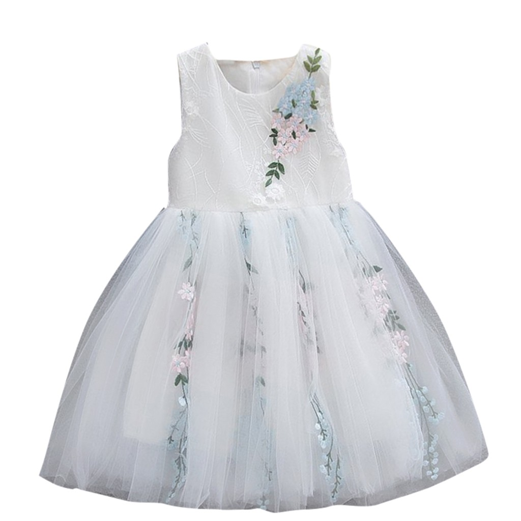 8dee6a59cc27a Solid christening Toddler Dresses Korean version Baby Girls Sleeveless  Tulle Floral Party Princess Dresses Clothes robe bapteme