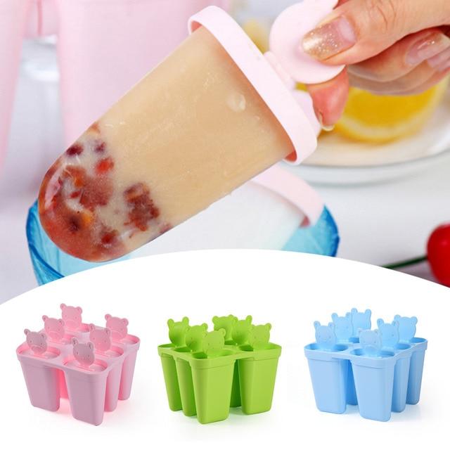 Формы Для Мороженного На Палочке чайник формы DIY милое 6 пресс-форма мишки формы для мороженого замороженный йогурт машина коробка холодильник Мороженое Инструменты