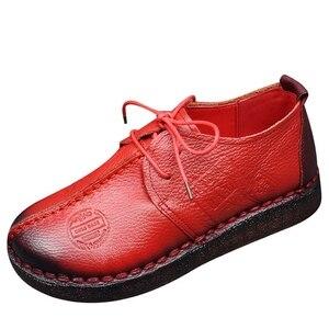 Image 2 - ファッションレトロ手縫製シューズレディースフラット革ソフト底の女性の靴ソフトで快適なカジュアルシューズ女性ローファー