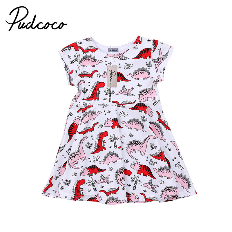 1 to 6T Cute Toddler Kids Baby Girls Clothes New Style Cartoon Dinosaur Short Sleeve Dress Outfits Summer Little Girls Clothing 2018 little girls 2 pieces tutu skirt clothing sets summer cartoon cute cat toddler girl short tops lace skirts kids outfits