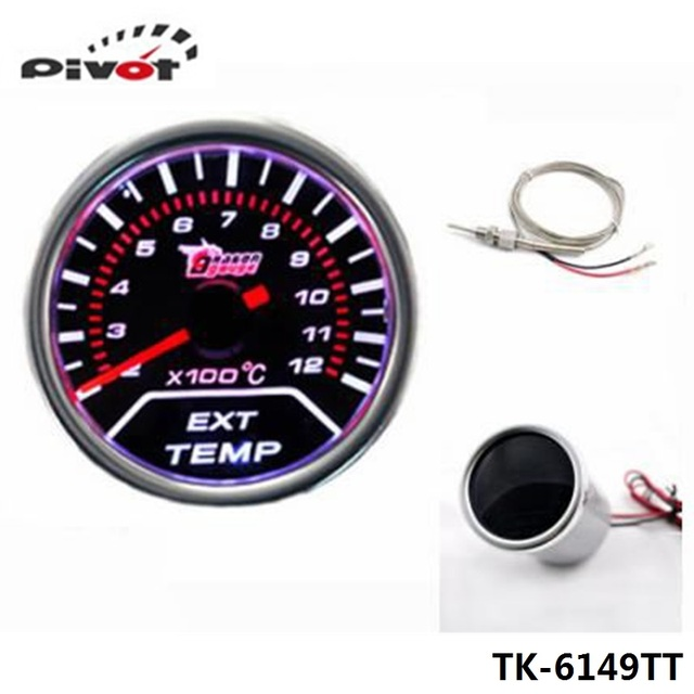 "PIVOT - Jdm Racing 2"" 52MM Car Motor EGT Exhaust Gas Temperature LED Smoke Tint Gauge Meter Universal TK-6149TT"