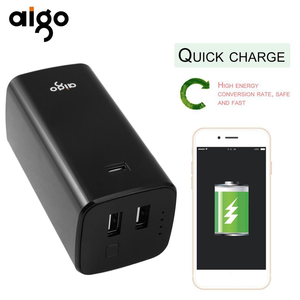 Aigo Power Bank 10000mAh Quick Charge Dual USB Powerbank External Battery Charger For Xiaomi Mi Samusng iphone Tablets Poverbank