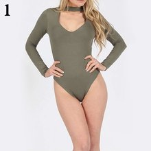 Women's Fashion Sexy High Neck Cutout Solid Color Long Sleeve Slim Fit Bodysuit