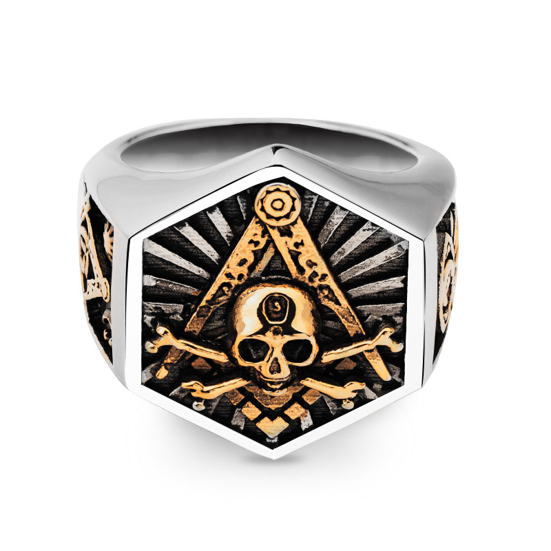 Masonic Ring For Men hexagon skull Stainless steel Freemason Totem Jewelry