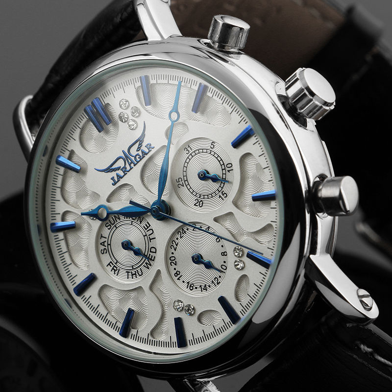 Fashion JARAGAR Men Luxury Brand Watch 6 Hands Tourbillion Automatic Mechanical Leather Wristwatches Gift Box relogio