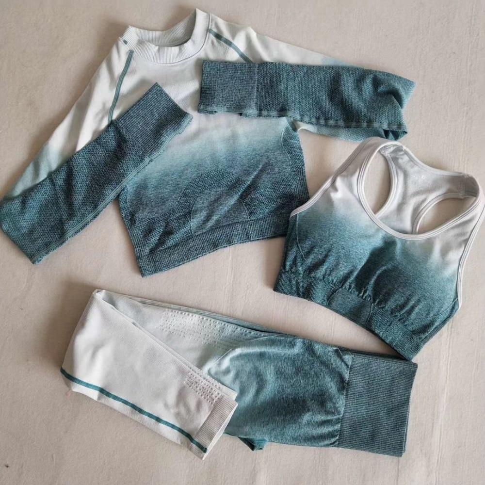 Ombre sans couture Leggings + soutien-gorge de sport + haut court à manches longues 3 pièces ensemble de Yoga femmes course Gym vêtements taille haute Fitness sport costume