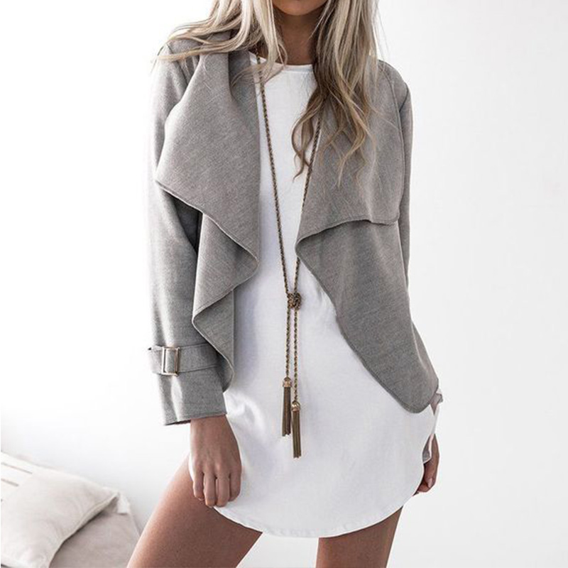 SMDPPWDBB Women basic coat lapel long sleeve open coat Autumn casual outerwear fashion female outerwear sophisticated style lapel ripple buttons long sleeve coat for women