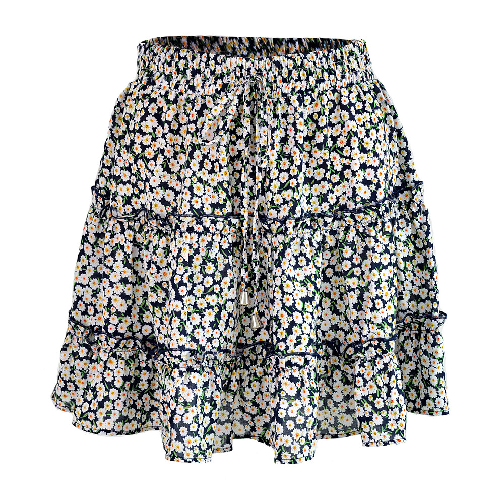 HTB1tnZ.NkvoK1RjSZFDq6xY3pXay - Sexy Women Fashion High Waist Frills Skirt for Women Broken Flower Half-length Skirt Printed Beach A Short Mini Skirts New