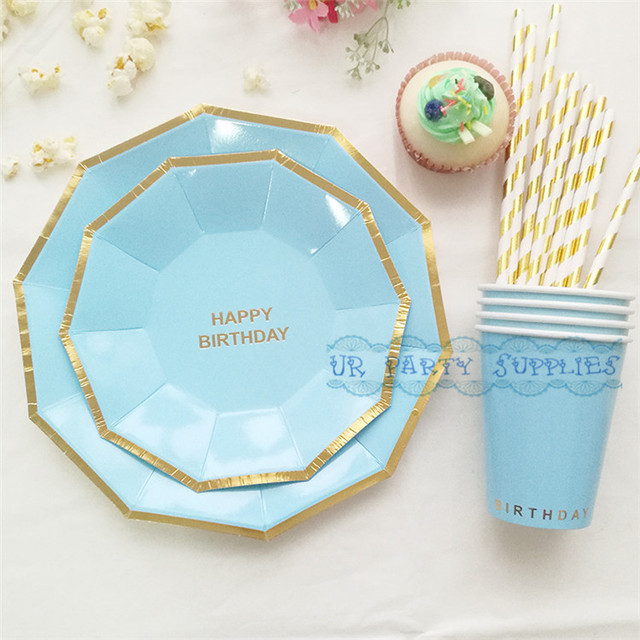 32 Sets Baby Blue Tableware Set Foil Gold Happy Birthday Hexagon Paper Plates Cups For Shower Boy Decor