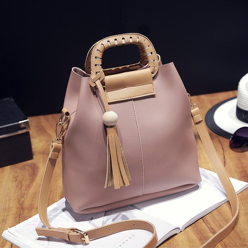 Tassel Women Bag Fashion Shoulder Bag Casual Simple Tote Knitting Female Messenger Bag PU Leather Female Handbag