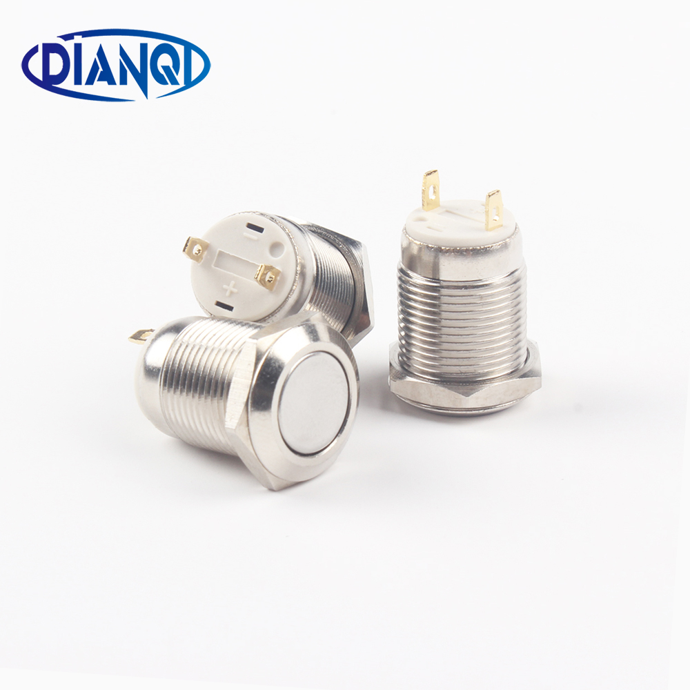 12mm Waterproof Momentary Flat Round Stainless Steel Metal Push Button Switch Car Start Horn Speaker Bell Automatic Reset 28mm metal stainless steel waterproof momentary doorebll horn push button switch car auto engine start pc power start self reset